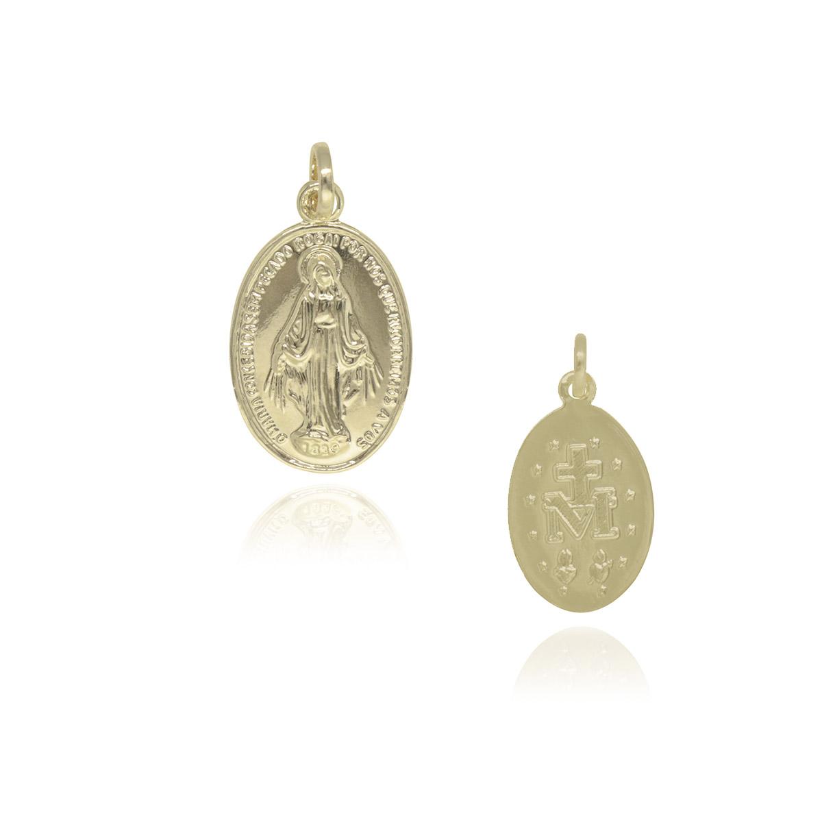 Pingente medalha Nossa Senhora das Graças folheado a ouro