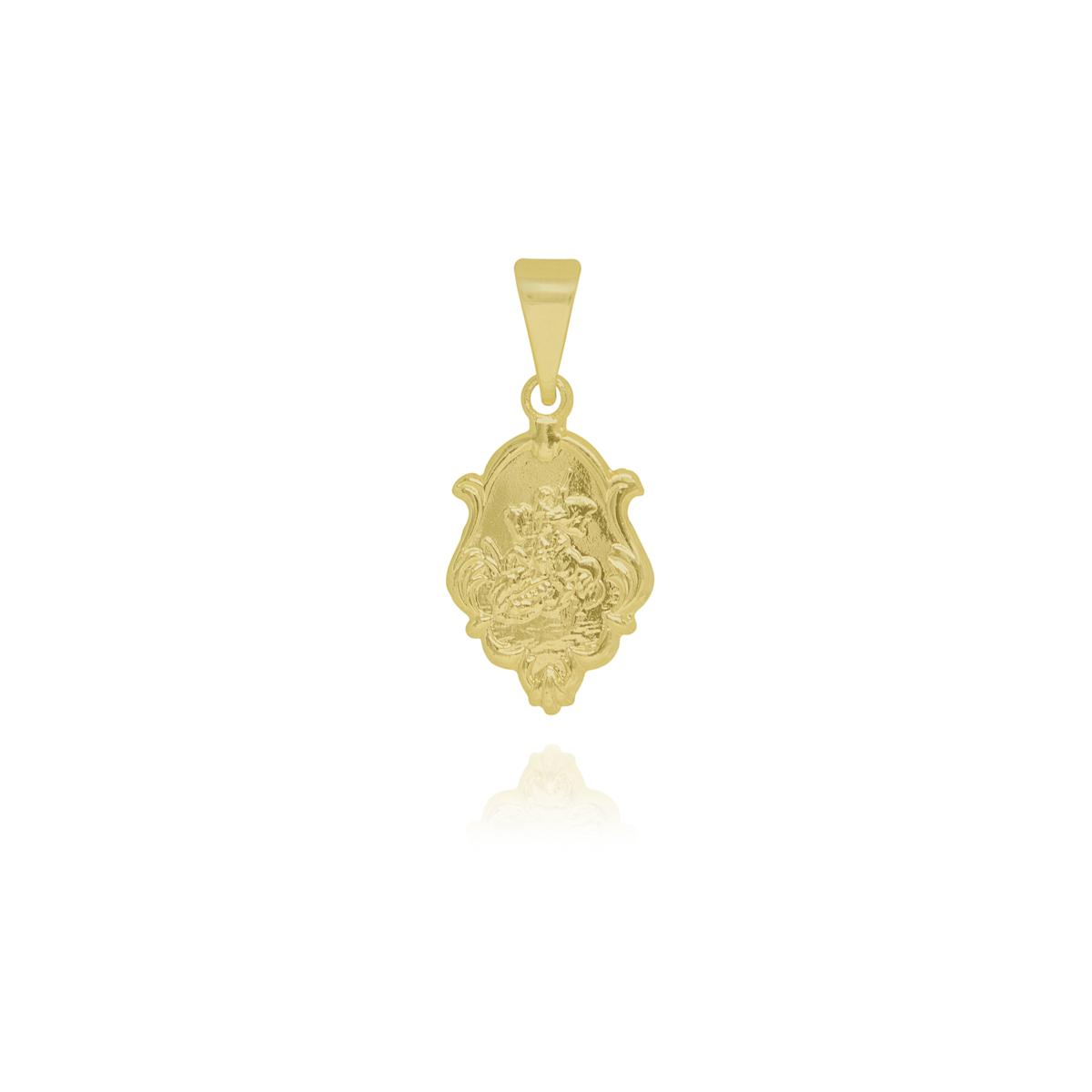 Pingente medalha trabalhada de São Jorge folheado a ouro 18k