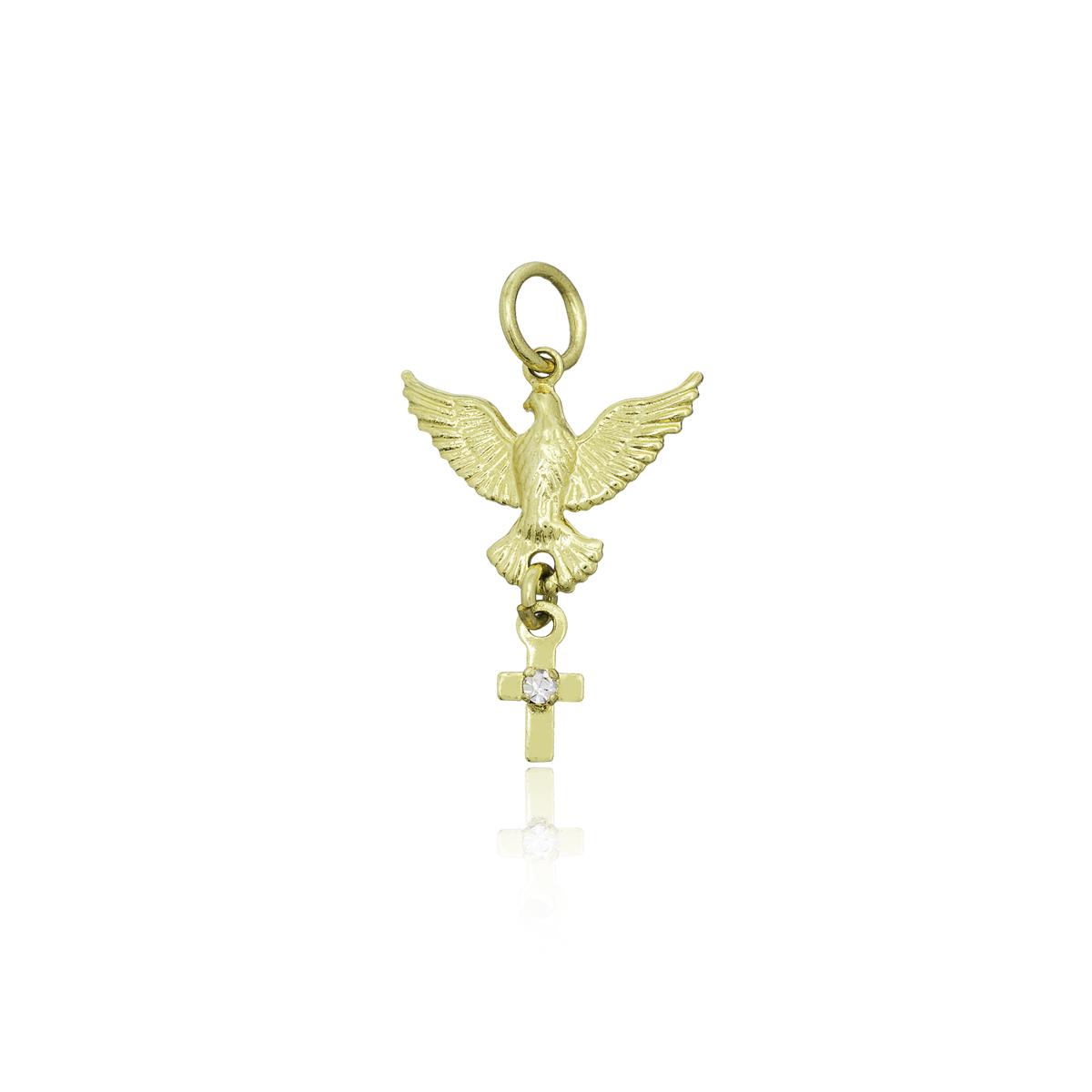 Pingente mini Cruz com Pomba da Paz folheada ouro e zircônia