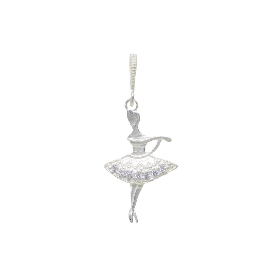 Pingente prata 925 maciça bailarina zircônia hipoalergênica