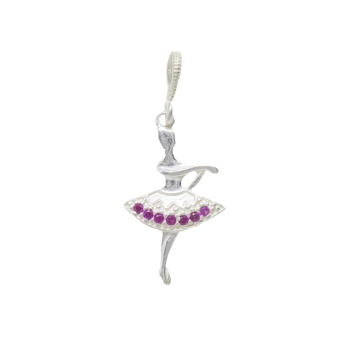 Pingente prata 925 pura bailarina com zircônia colorida