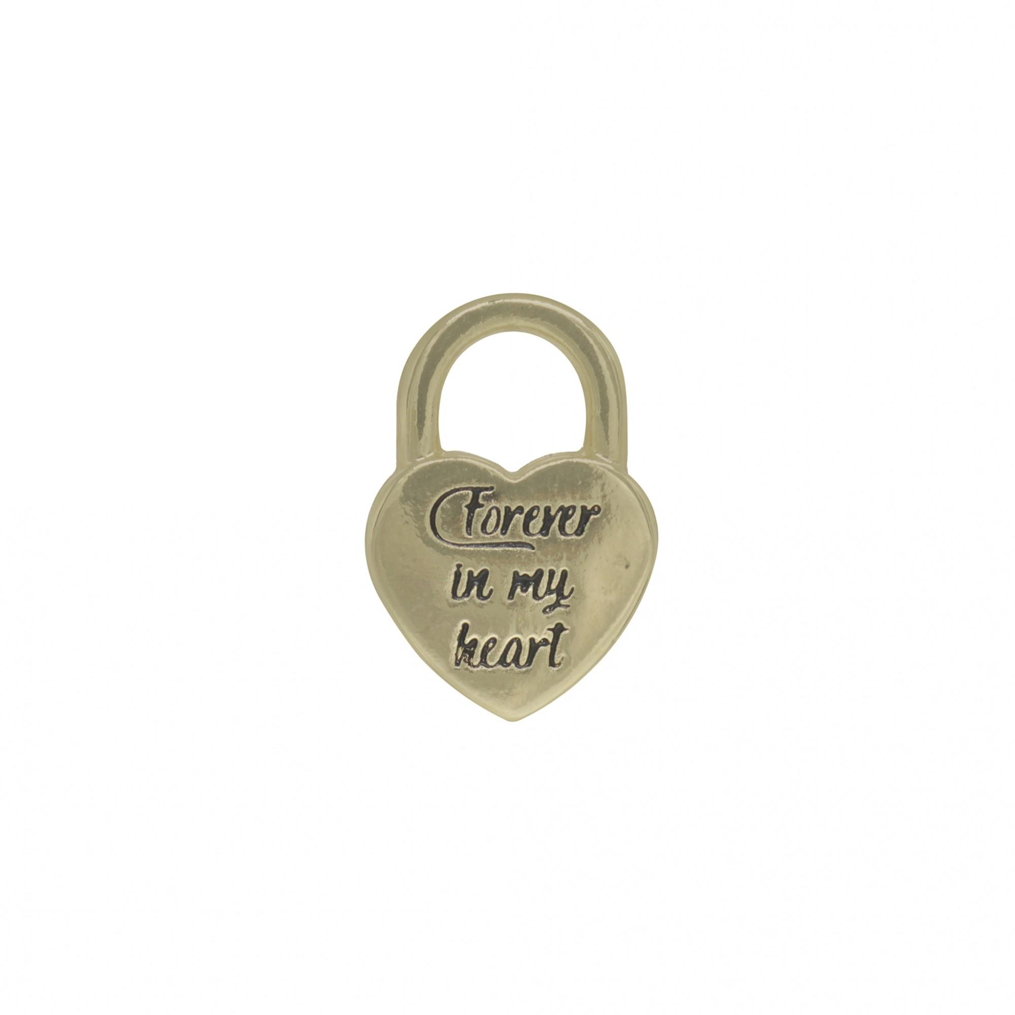 Pingente semijoia cadeado coração com ouro ou prata e verniz