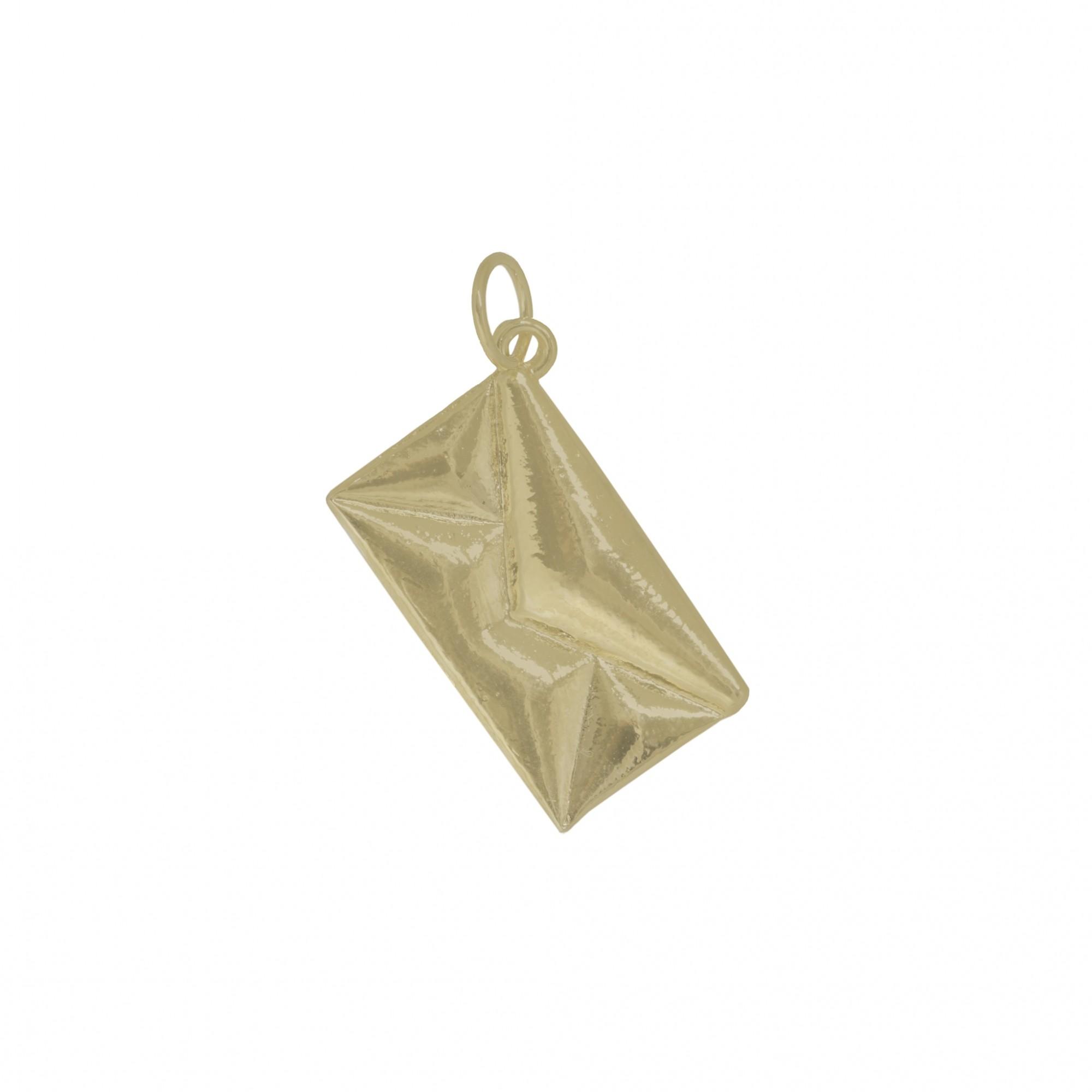 Pingente semijoia carta lisa folheado ouro / prata e verniz