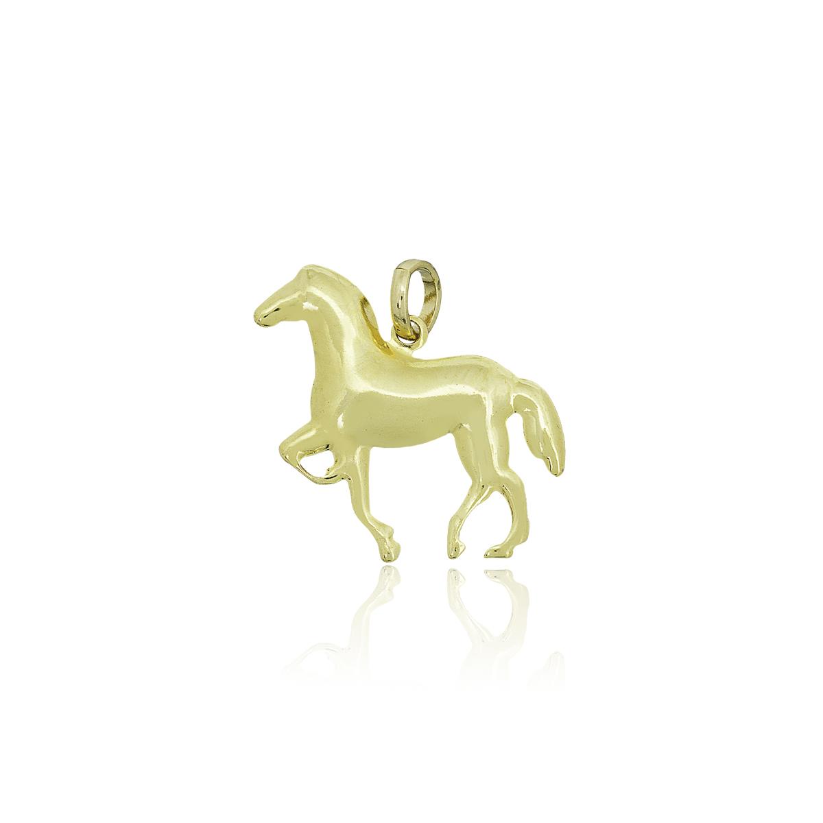 Pingente semijoia Cavalo galopando folheado a ouro 18k