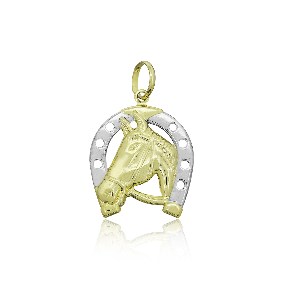 Pingente semijoia Cavalo na ferradura folheado a ouro 18k