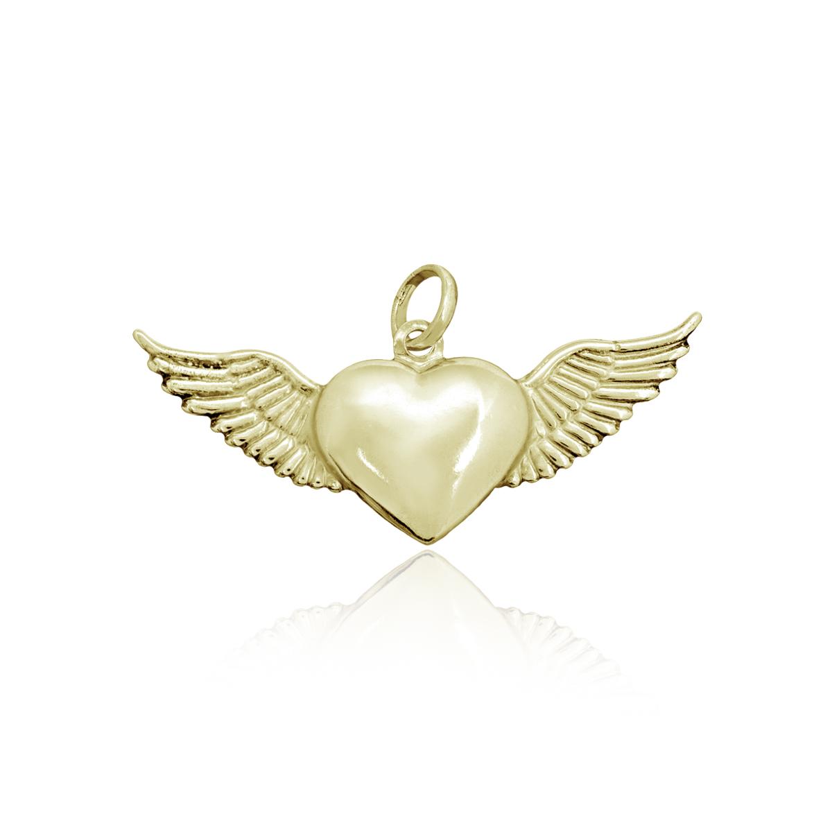 Pingente semijoia coração alado folheado a ouro 18k ou ródio