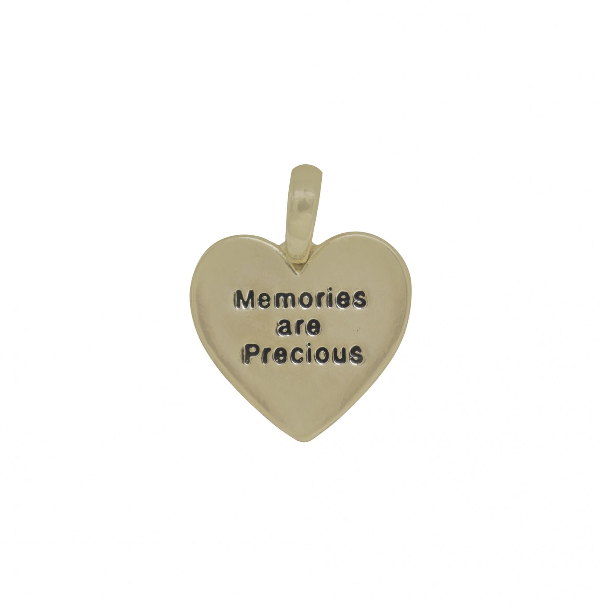 Pingente semijoia coração Memories com ouro prata e verniz
