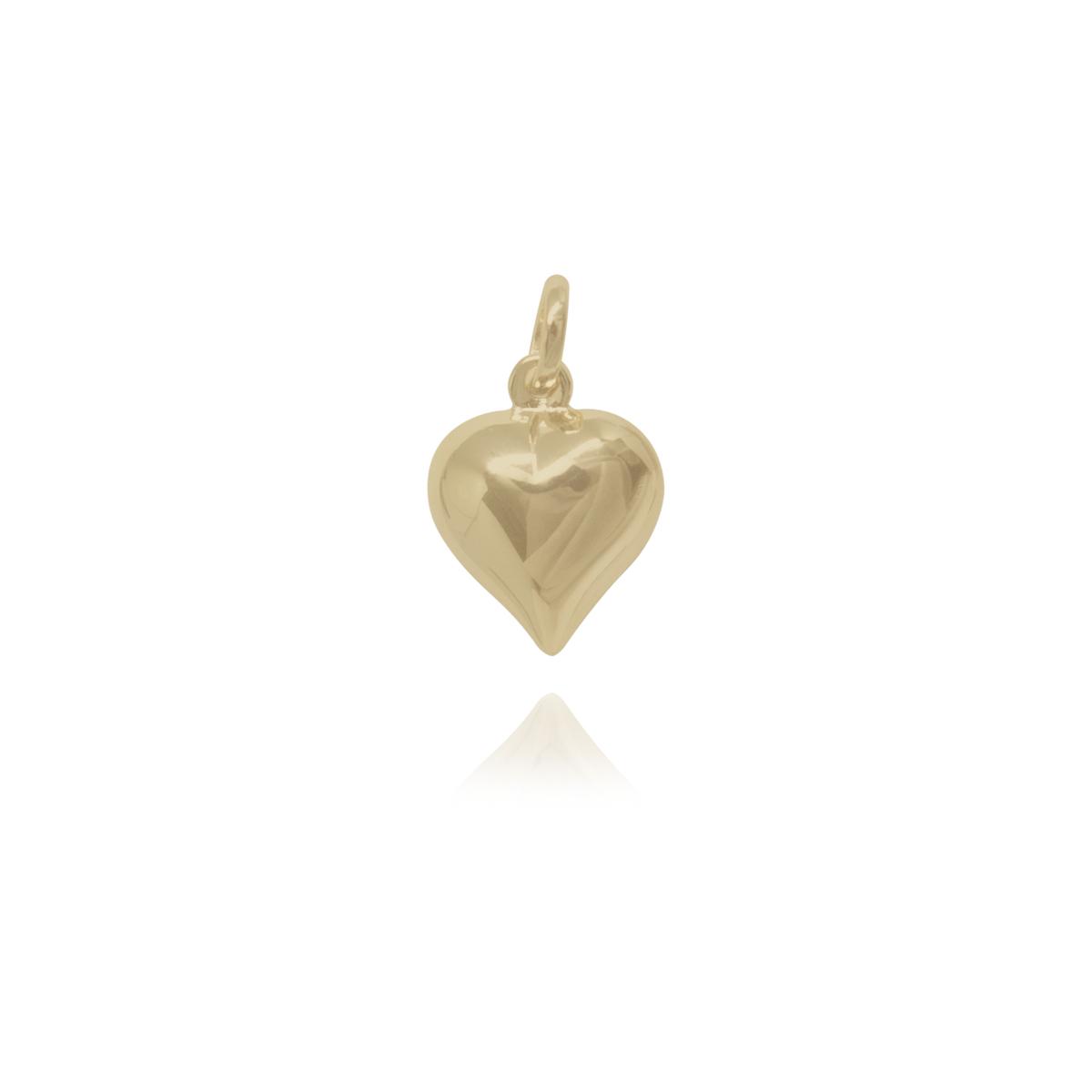 Pingente semijoia Coração pontudo folheado ouro 18k / ródio