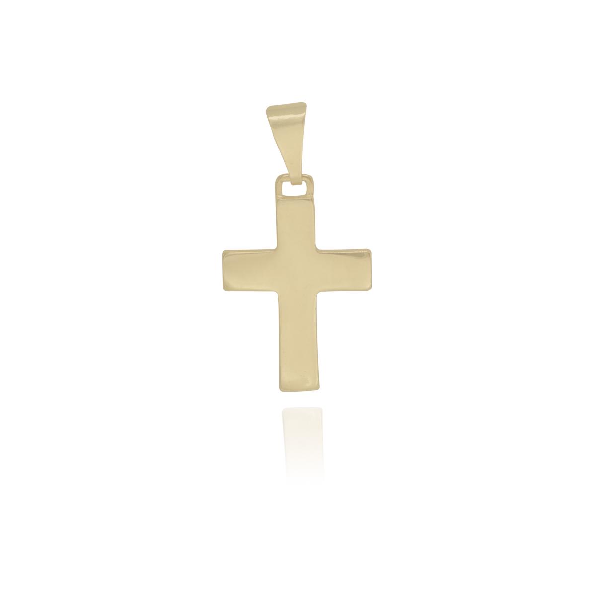 Pingente semijoia Cruz lisa folheado a ouro 18k ou ródio
