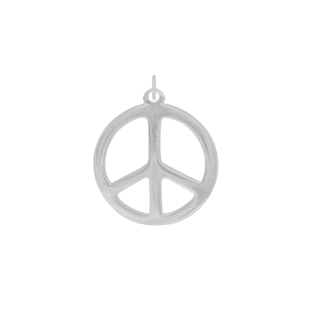 Pingente semijoia folheado a ródio branco medalha Paz e Amor