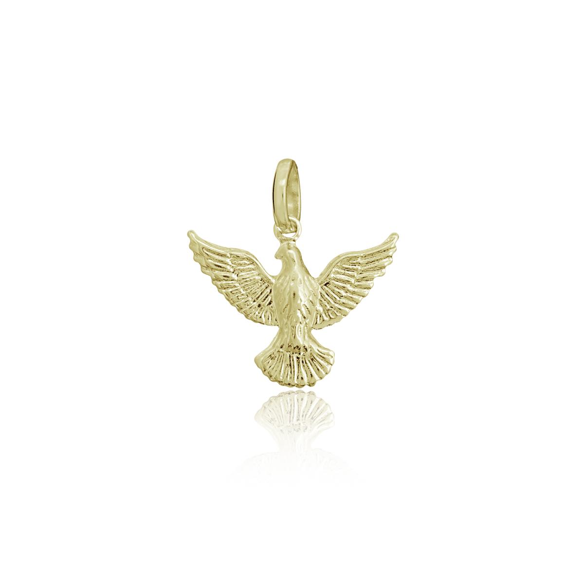 Pingente semijoia folheado ouro 18k ou ródio Pomba P