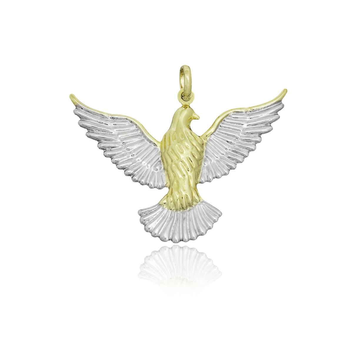 Pingente semijoia folheado ouro 18k ou ródio Pombinha da Paz