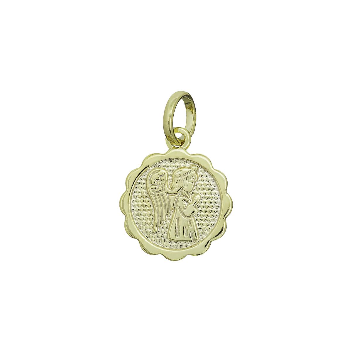Pingente semijoia Medalha Anjinho da Guarda rezando folheado