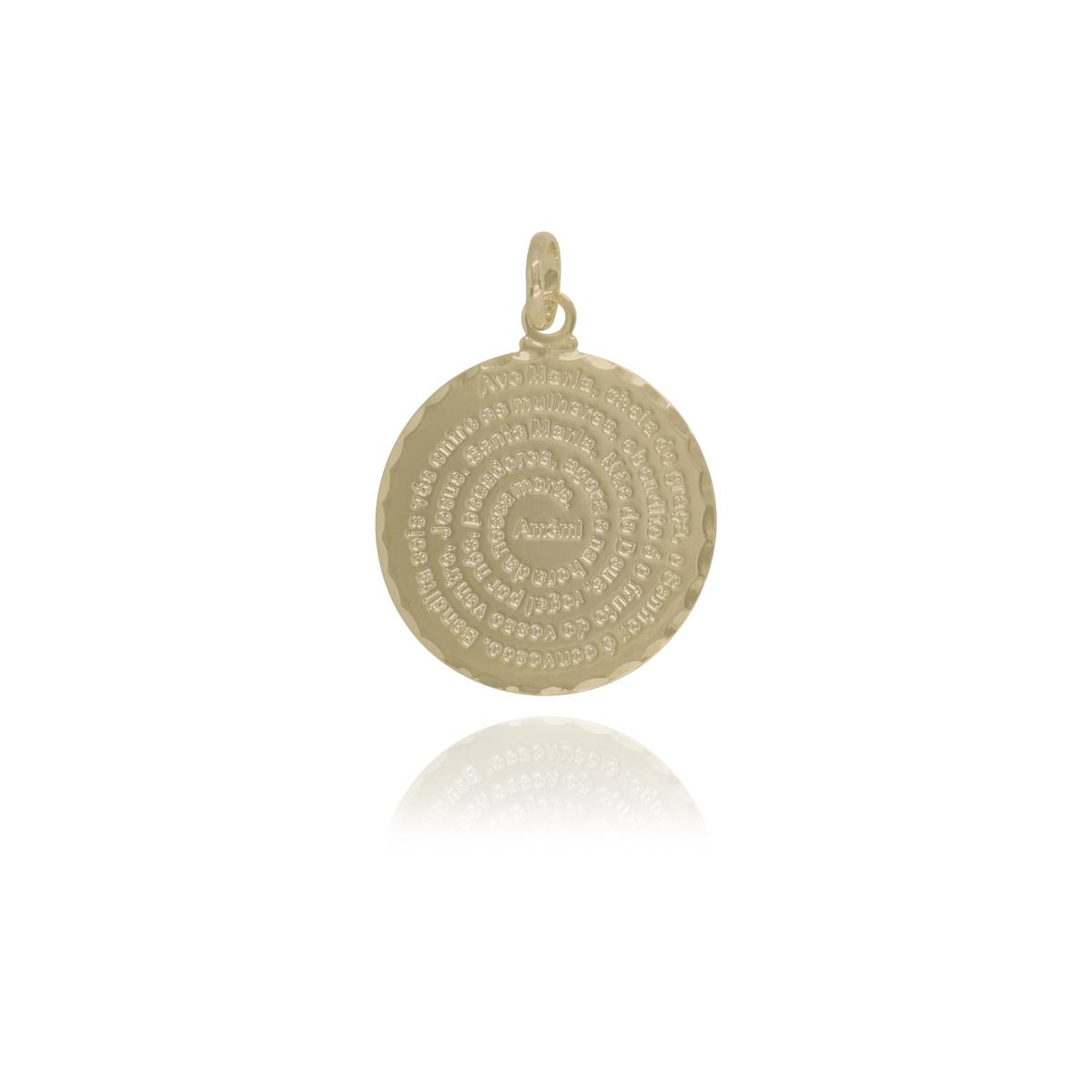 Pingente semijoia medalha Ave Maria 2,5 cm folheado a ouro