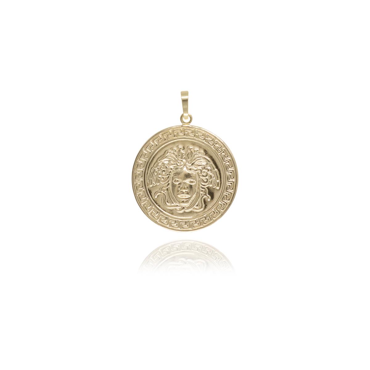 Pingente semijoia Medalha Medusa folheado a ouro 18k / ródio