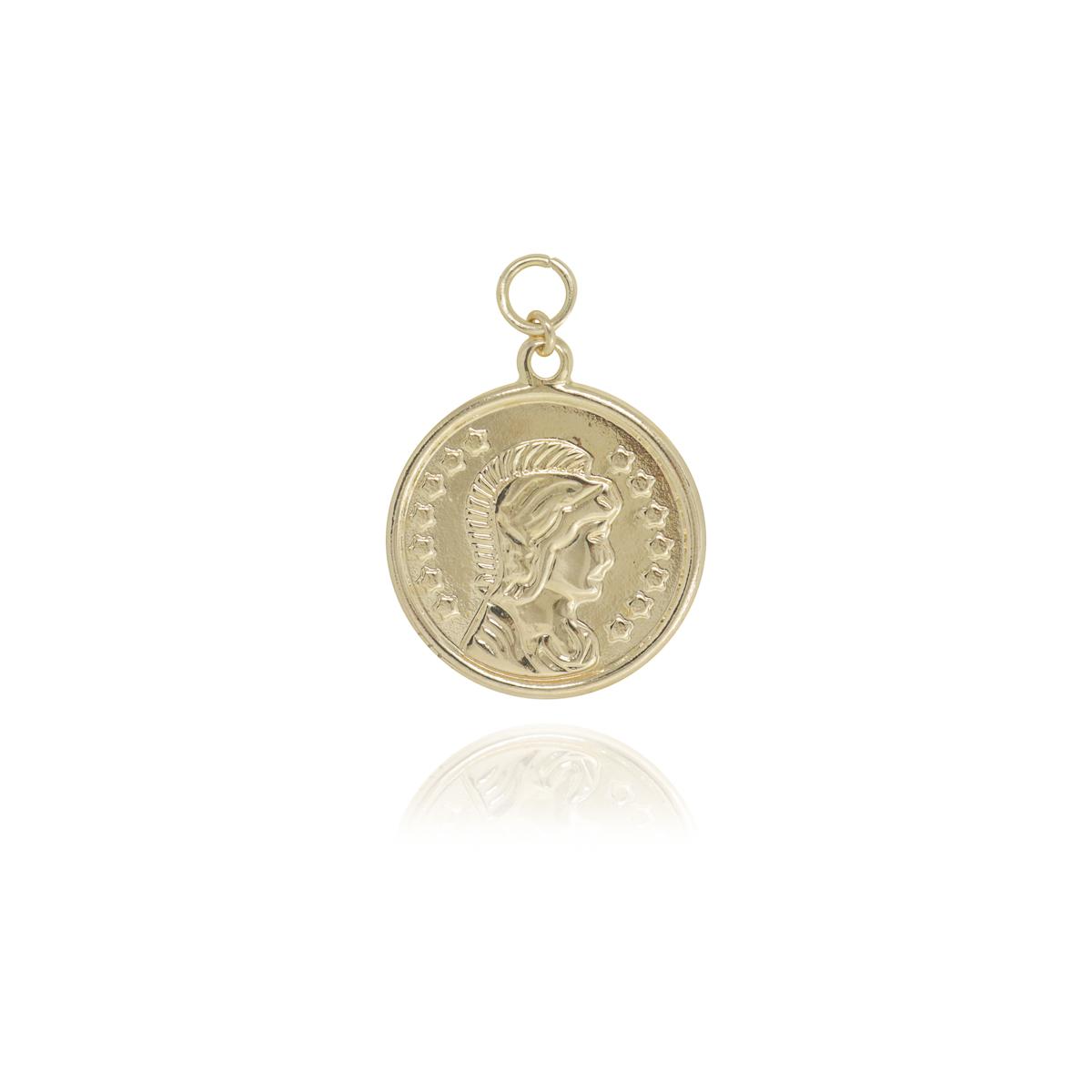 Pingente semijoia Medalha Moeda folheado a ouro 18k ou ródio