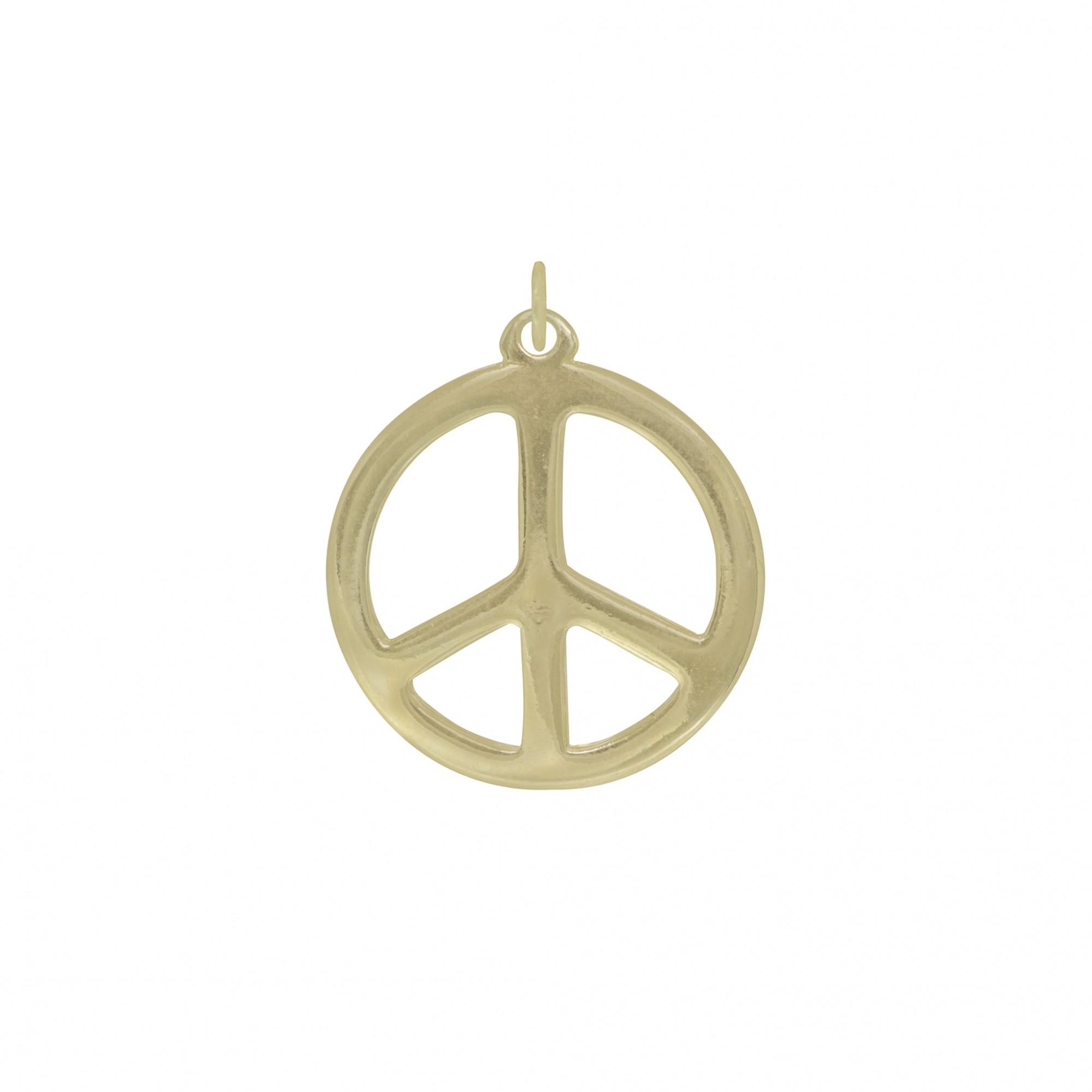 Pingente semijoia medalha Paz e Amor com ouro prata e verniz