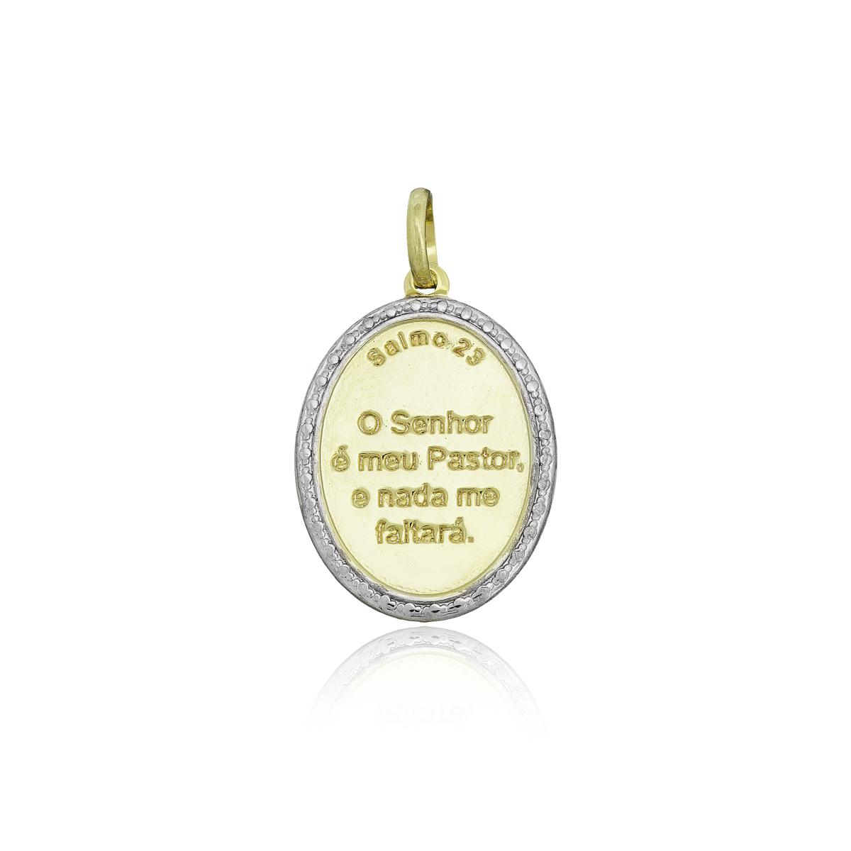 Pingente semijoia placa oval e borda Salmo 23 folheado ouro