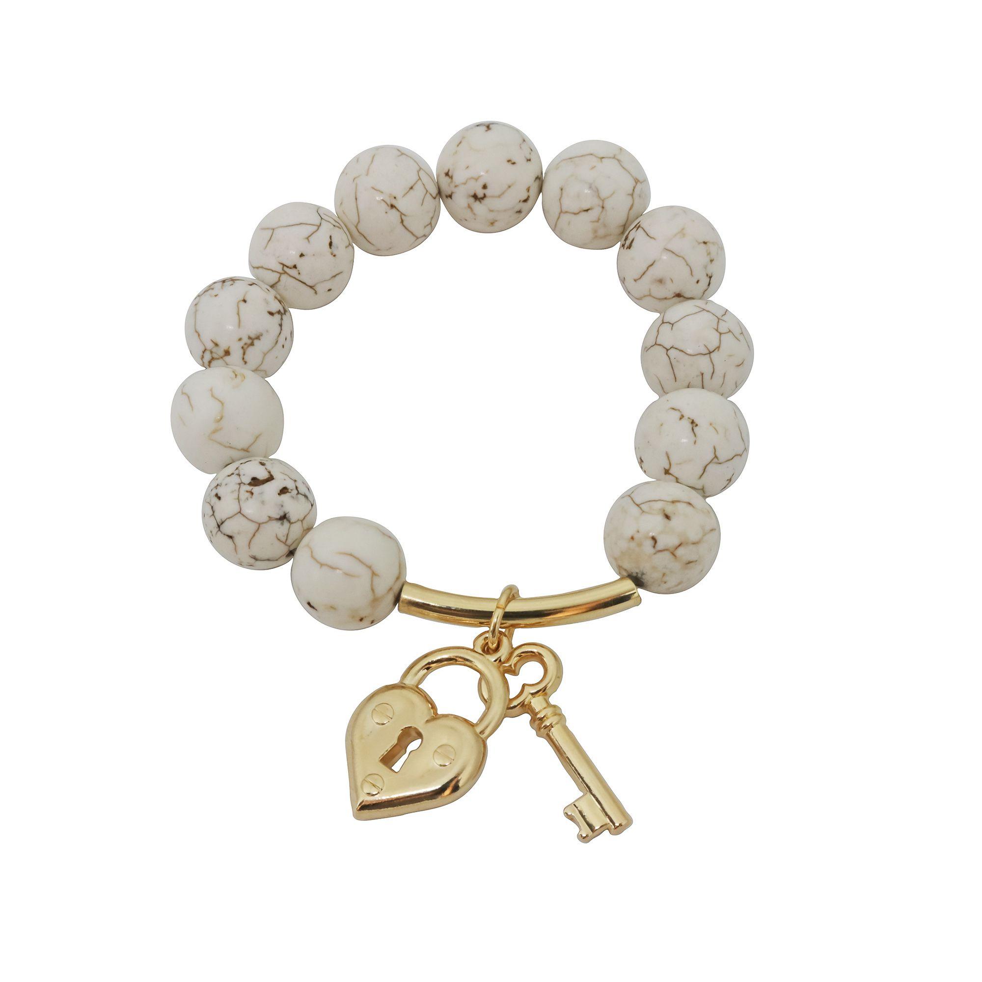 Pulseira Semi joia chave/cadeado banhada a ouro 18k ou rhodium