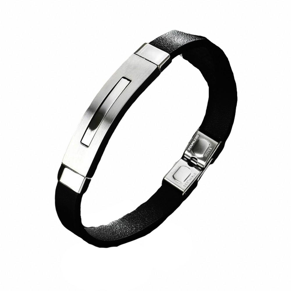 Pulseira aço inox silicone negro Detalhe retangulo não risca