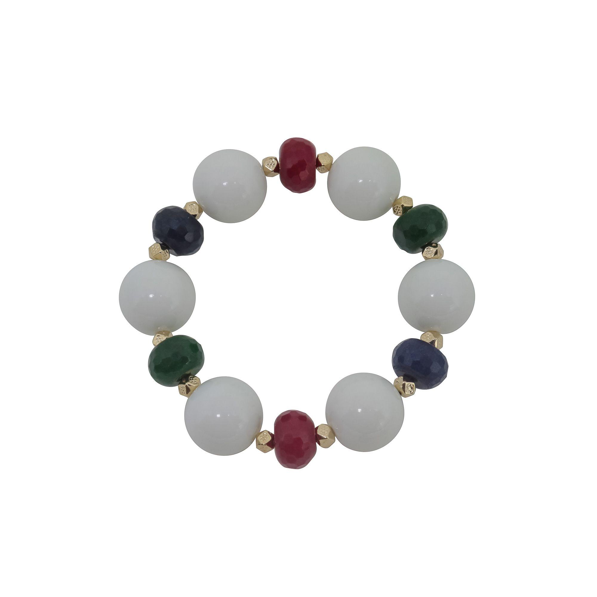 Pulseira semijoia Esferas com pedras naturais jade coloridas