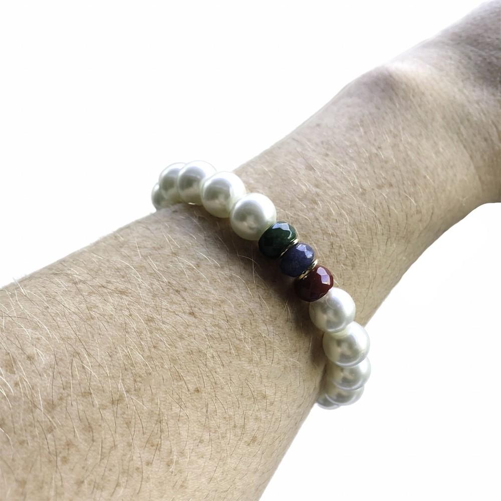 Pulseira folheada semijoia com Pérola e pedra natural Jade