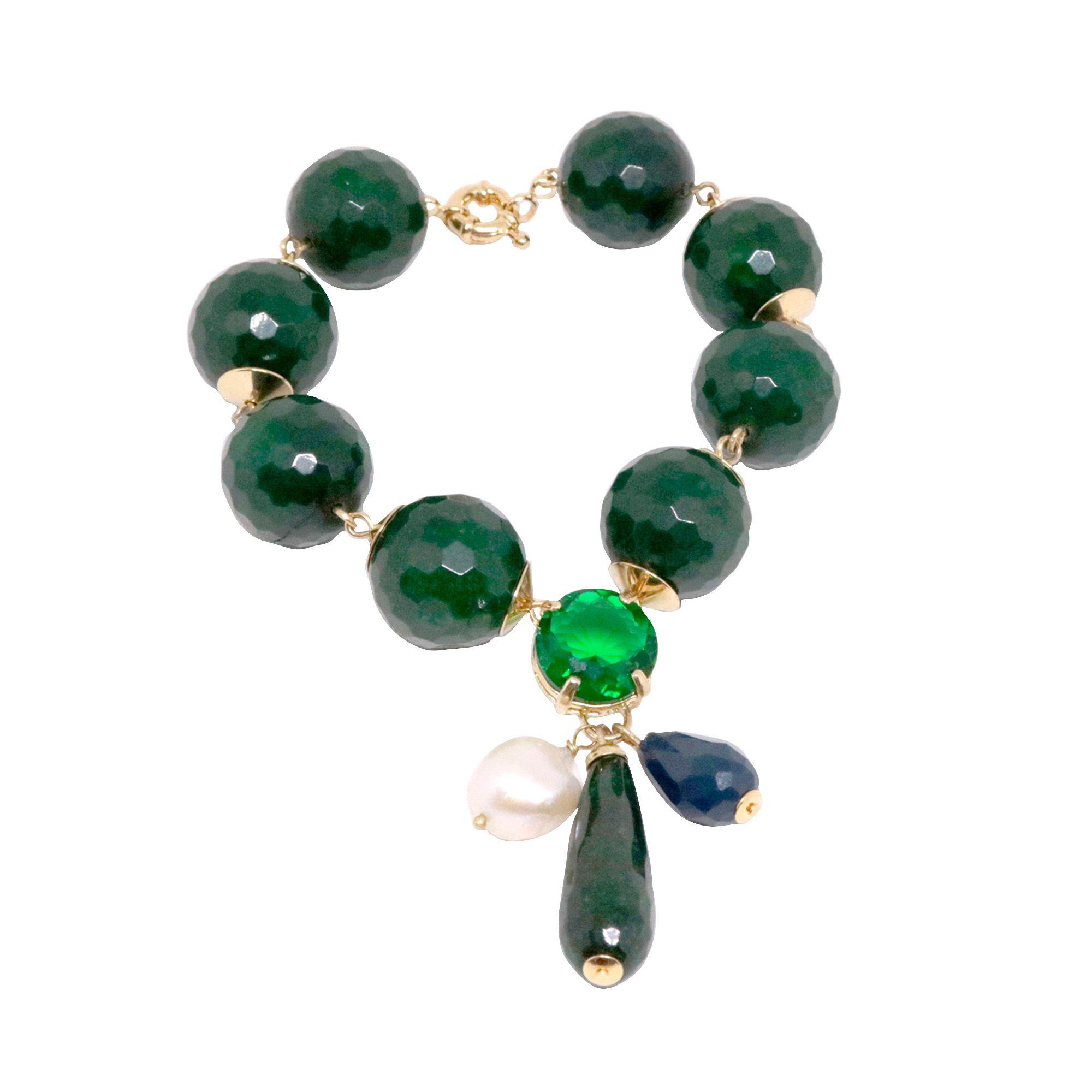 Pulseira folheada semijoia Pedra natural jade e cristal