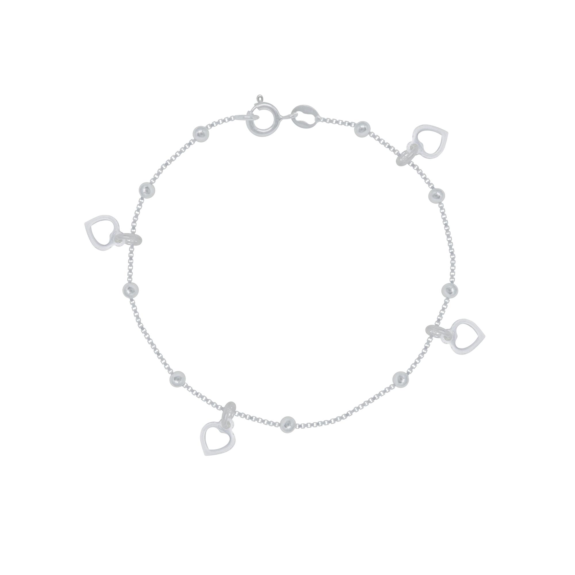 Pulseira joia prata 925 pura Coração vazado hipoalergênica