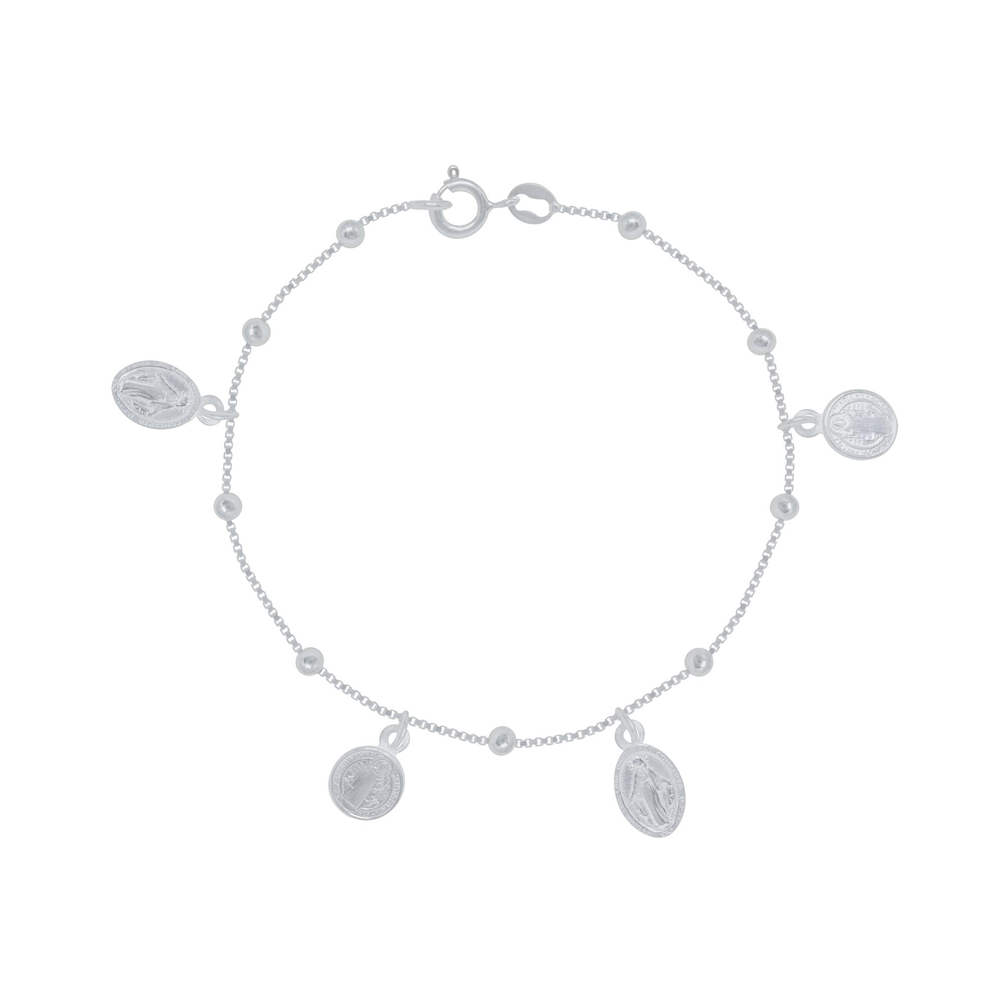 Pulseira joia prata 925 Nossa Senhora Guadalupe e São Bento