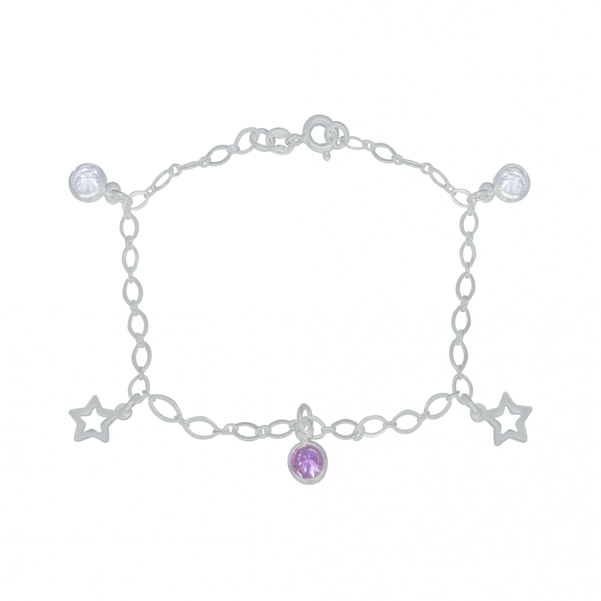 Pulseira joia prata 925 pura, zircônia ponto de luz estrela