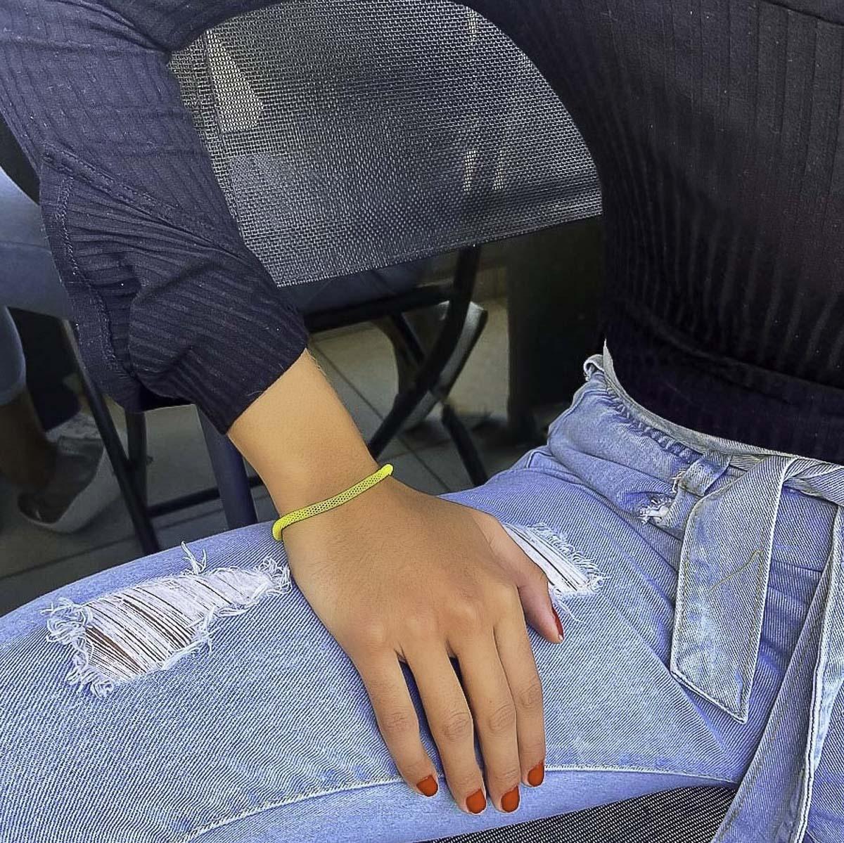 Pulseira malha Colorida moda blogueira