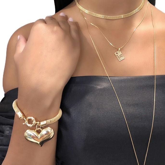 Pulseira Semi joia folheada a ouro 18k ou rhodium coração