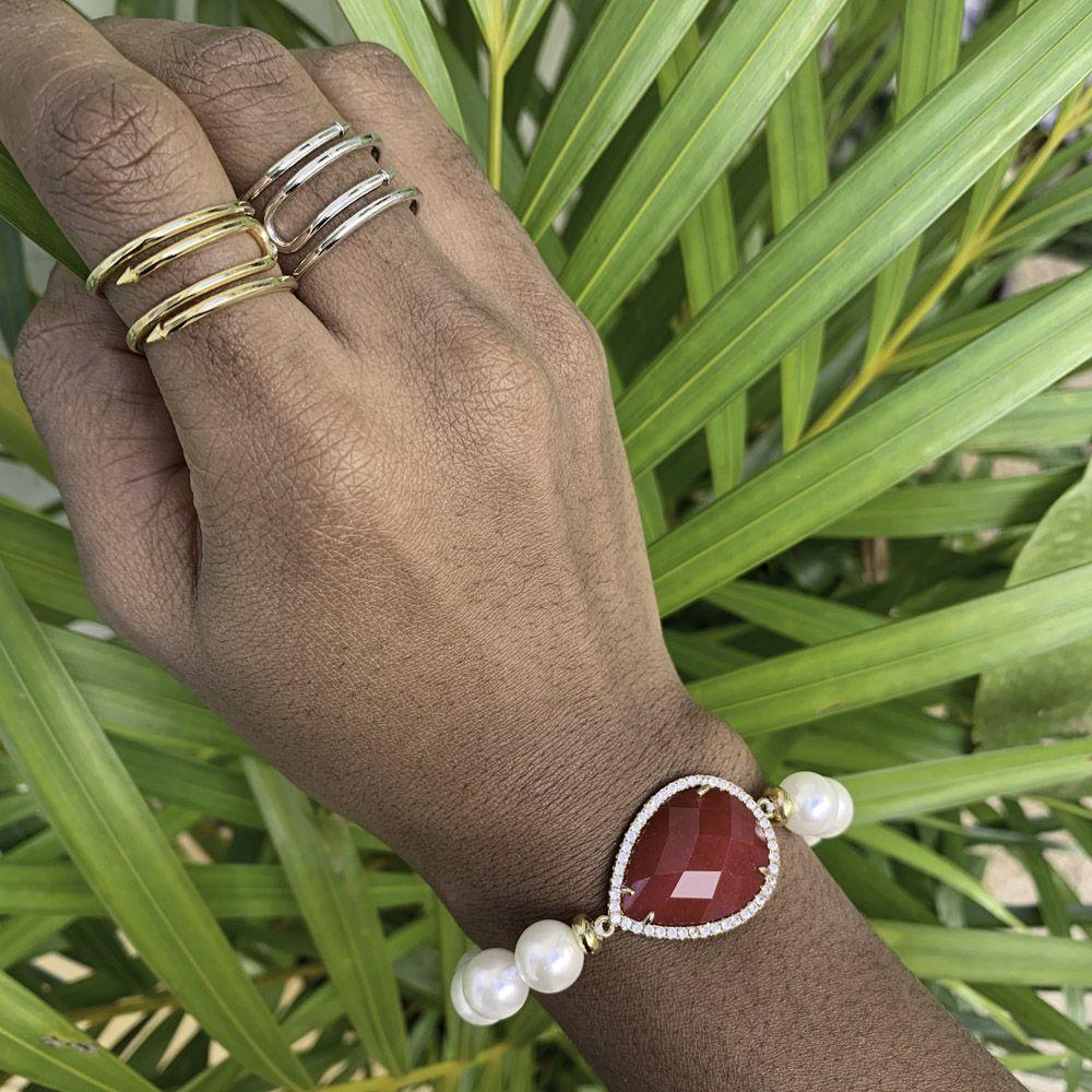 Gargantilha folheada semijoia Pedra natural coração facetado