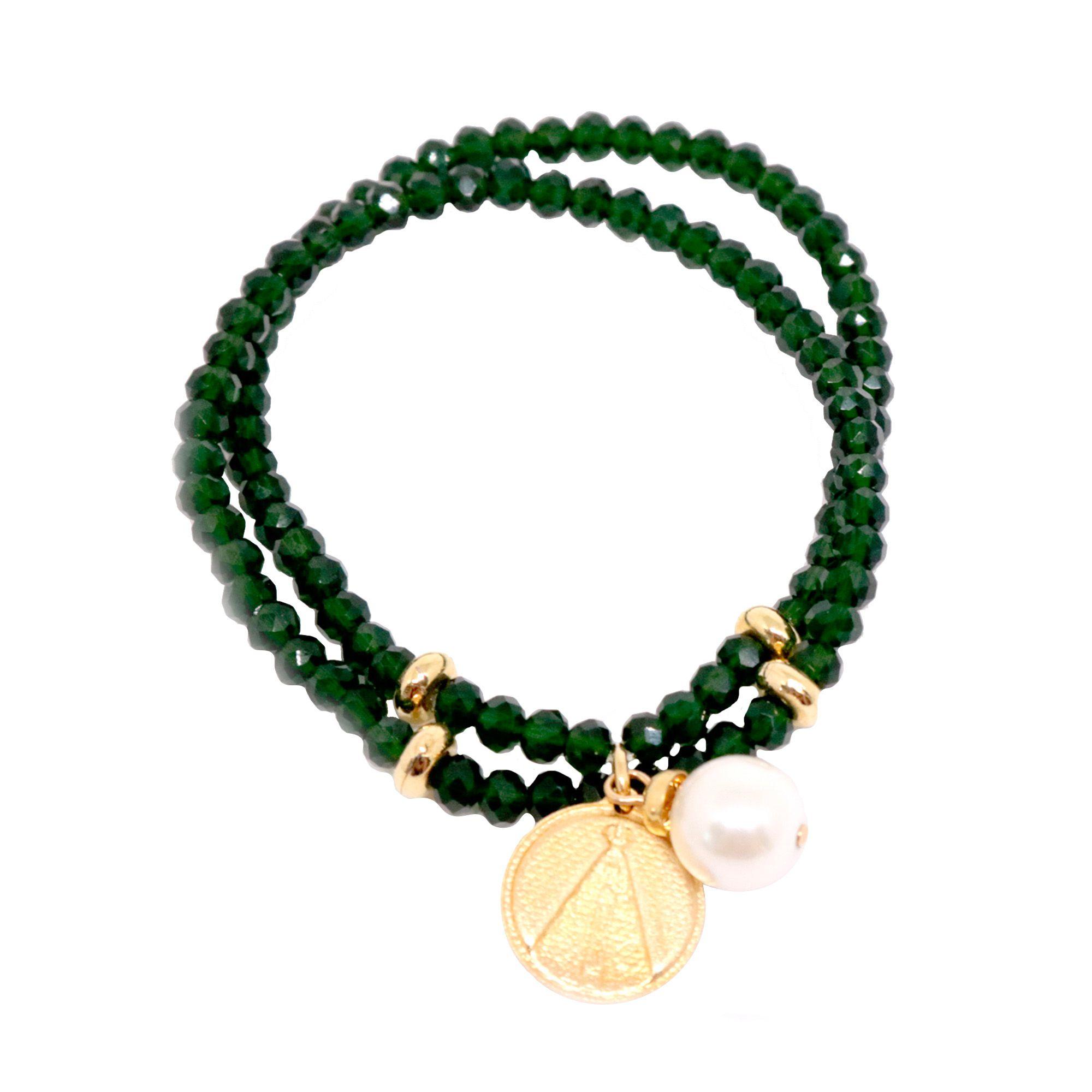 Pulseiras Semi joia  Cristais com Medalhinhas banhadas a ouro 18k ou rhodium