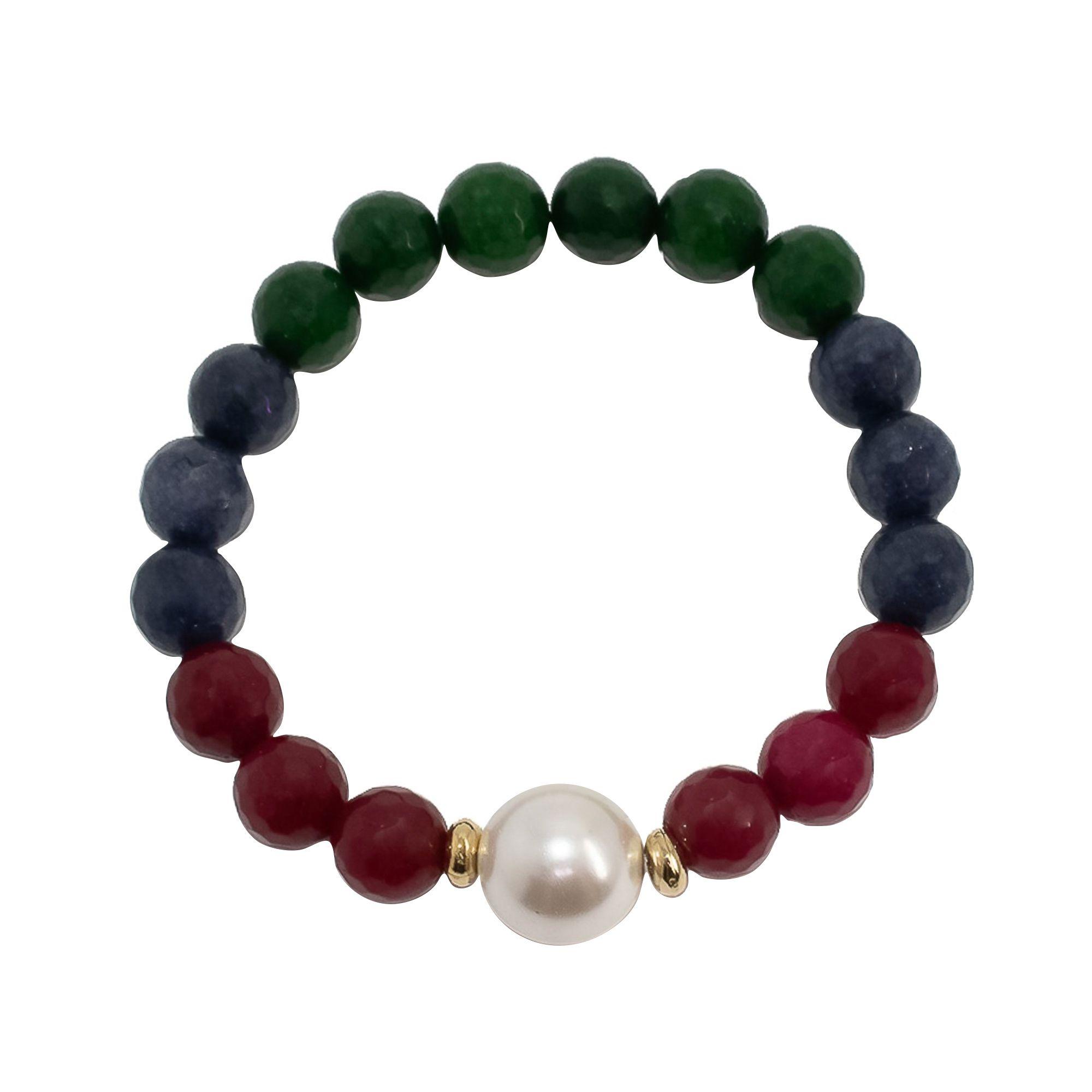 Pulseira  Semi joia com pedra natural Jade e Pérola folheada a ouro 18k ou rhodium