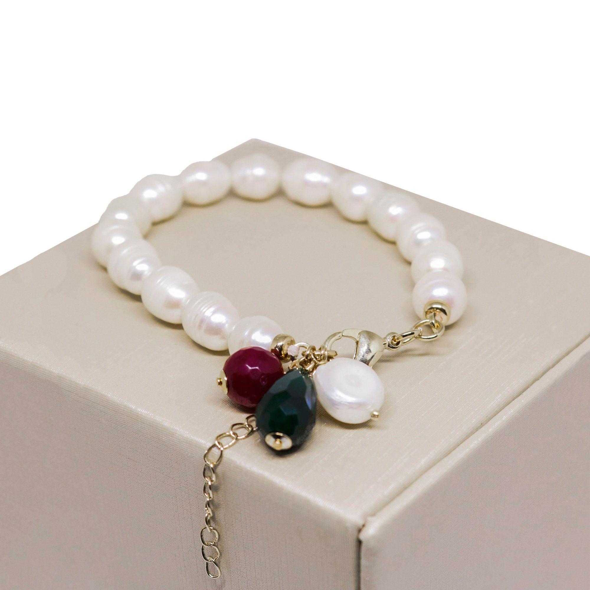 Pulseira Semi joia  Pérolas com pingente  de pedra natural Jade  banhada a ouro 18k ou rhodium
