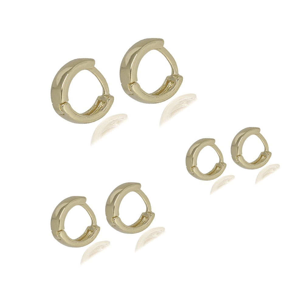 Trio de argolas semijoia folheadas a ouro ou ródio Lisas