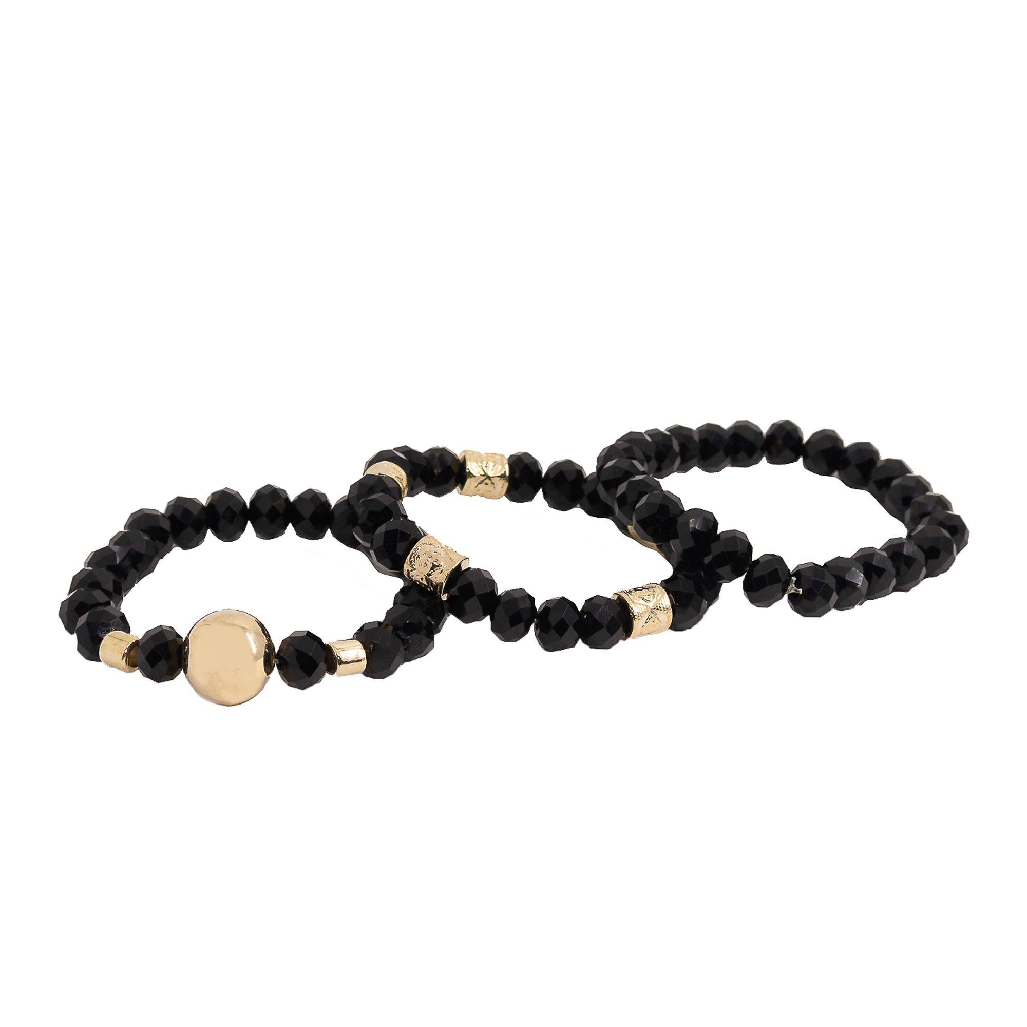 Trio de pulseiras semi joias com cristais banhadas a ouro 18k ou rhodium