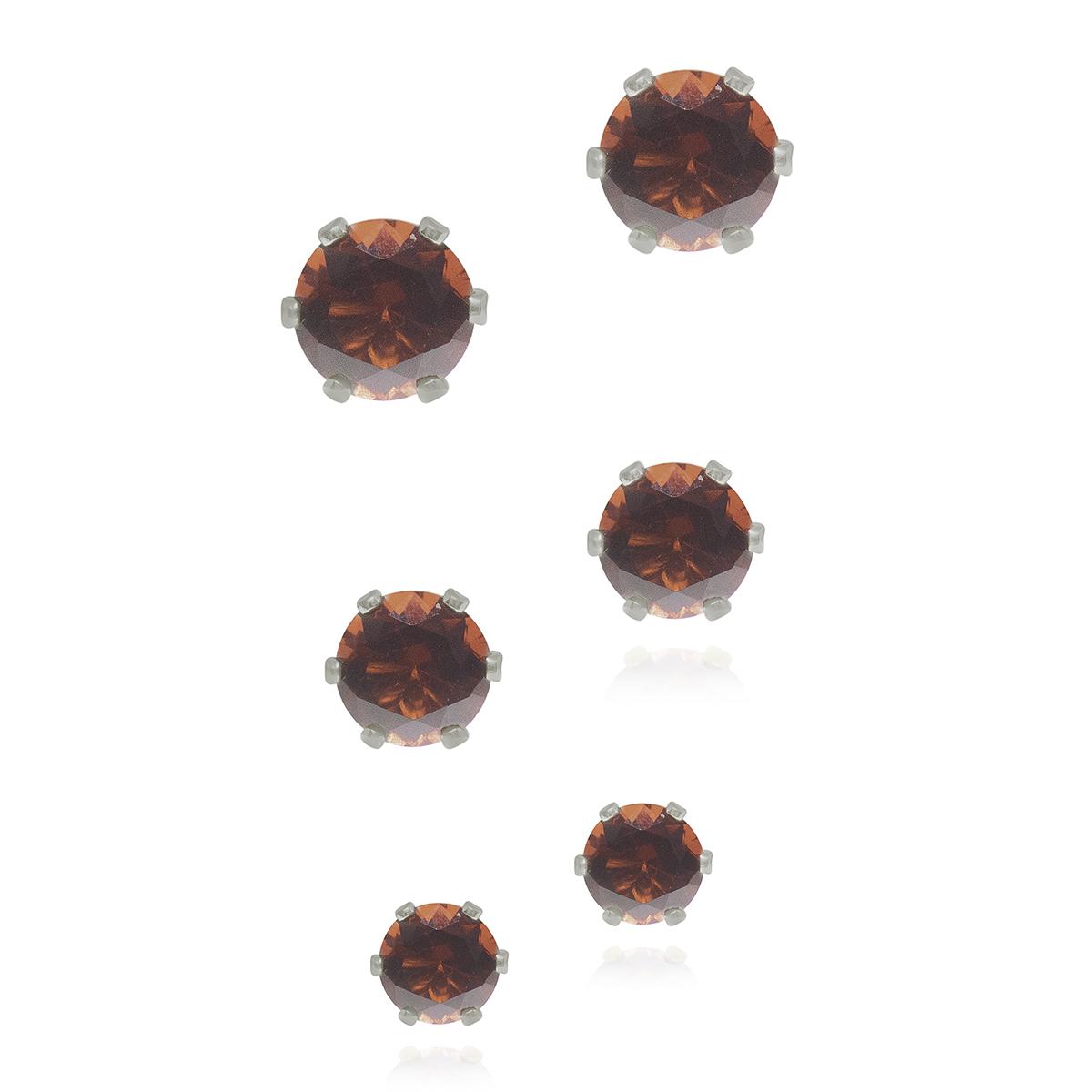 Trio semijoia ponto de luz de cristal folheada ouro 18k M