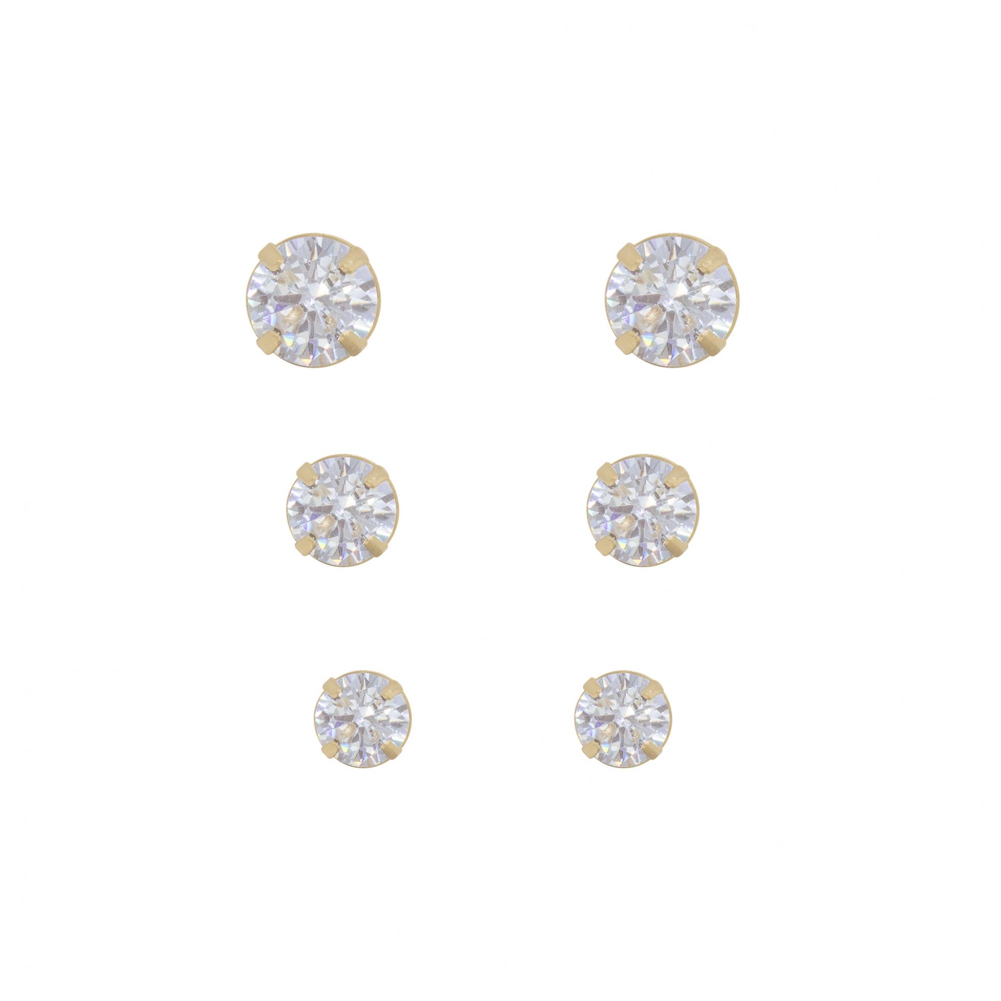 Trio semijoia ponto de luz de zircônia folheada ouro 18k G