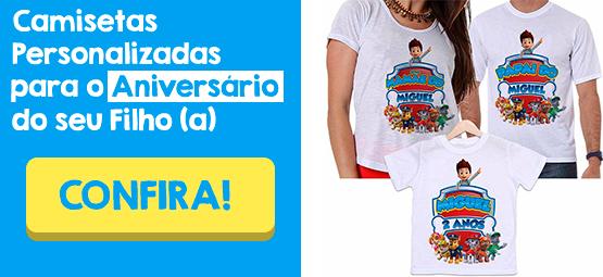 Camiseta Patrulha Canina Personalizada para Aniversário