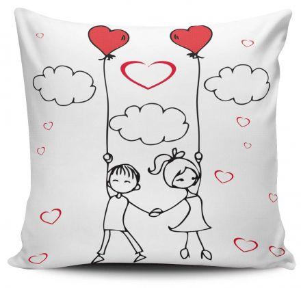 Almofada Casal Apaixonado Nas Nuvens Balão Coração