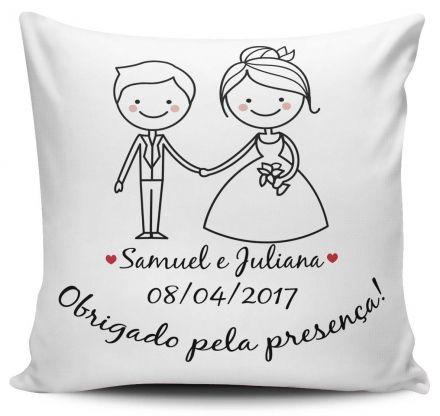 Almofada Casamento Personalizada Obrigado Pela Presença Noivos