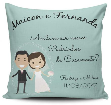 Almofada Convite Casamento Personalizada Aceitam Ser Nossos Padrinhos de Casamento?