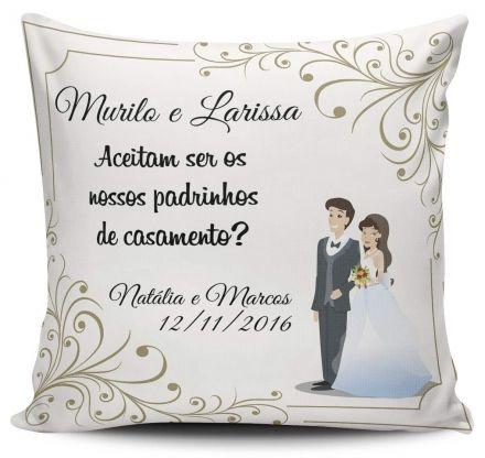 Almofada Convite Casamento Personalizada Aceitam Ser Nossos Padrinhos de Casamento