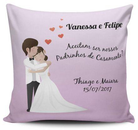 Almofada Convite Casamento Personalizada Aceitam Ser Nossos Padrinhos de Casamento Noivos