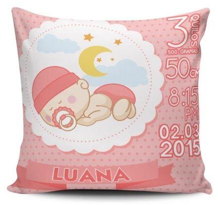 Almofada Dados de Nascimento do Bebê Menina Dormindo Rosa