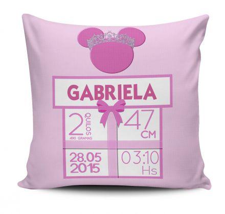 Almofada Dados de Nascimento do Bebê Menina Minnie Rosa Coroa Dourada