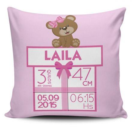 Almofada Dados de Nascimento do Bebê Menina Ursinho Laço Rosa