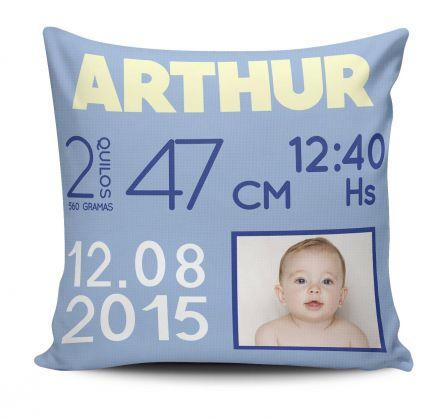 Almofada Dados de Nascimento do Bebê Menino Com Foto